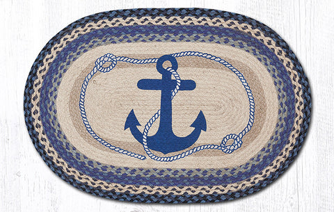 OP-443 Navy Anchor Oval Patch Rug
