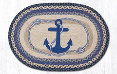OP-443 Navy Anchor Oval Rug