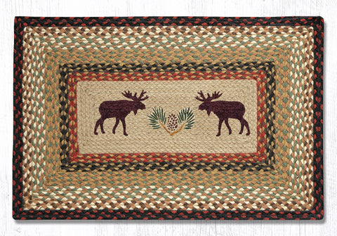 PP-019 Moose Pinecone Print Patch Rug