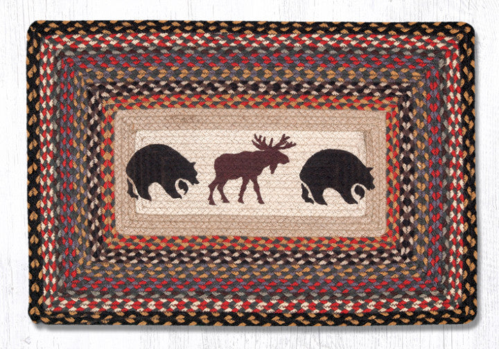 PP-043 Bear Moose Print Patch Rug