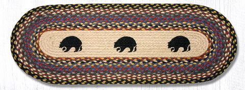 TR-043 Black Bears Oval Table Runner