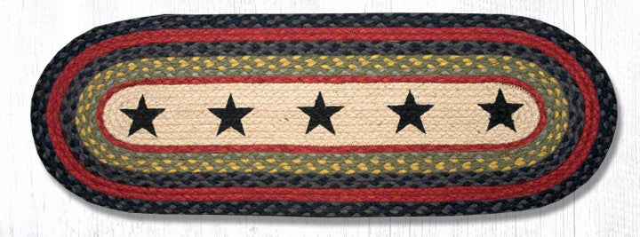 TR-238 Black Stars Oval Table Runner