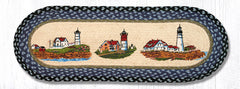 TR-251 Three Lighthouses Oval Table Runner