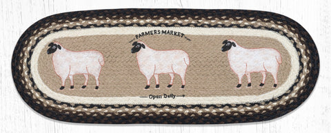 TR-344 Farmhouse Sheep Oval Table Runner
