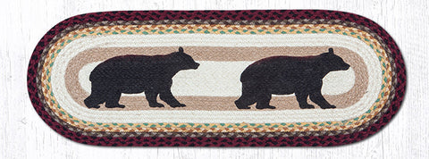 TR-395 Cabin Bear Oval Table Runner