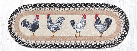 TR-430 Roosters Oval Table Runner