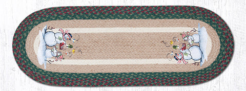 TR-508 Birdhouse Snowman Oval Table Runner