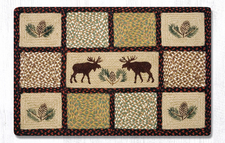 QP-019 Moose Pinecone Printed Quilt Patch