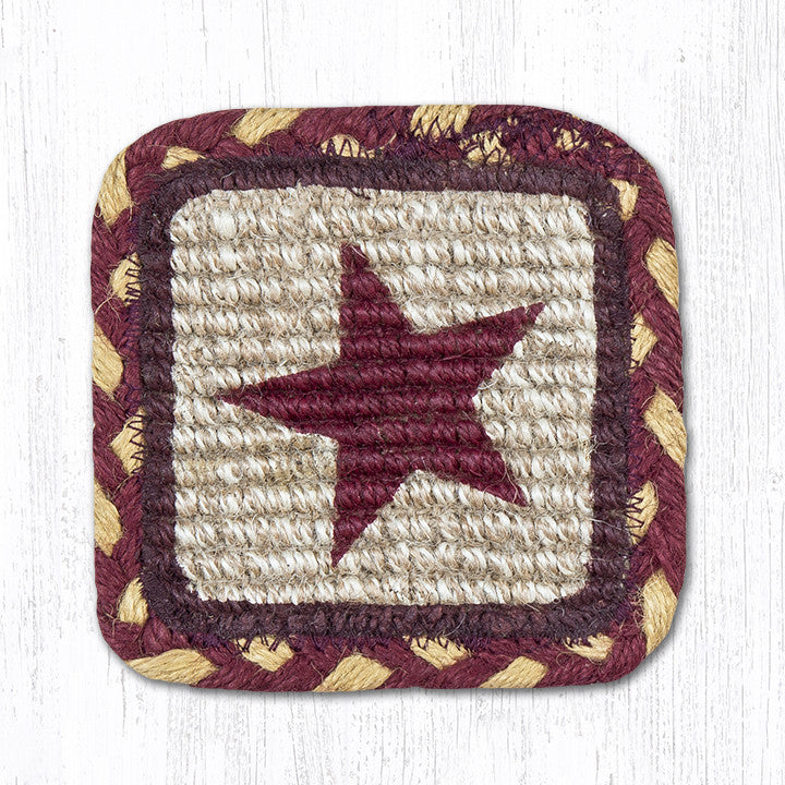 WW-357 Burgundy Star Wicker Weave Table Accent