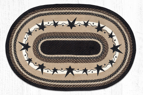 OP-313 Primitive Star Black Oval Rug 4'x6' Oval
