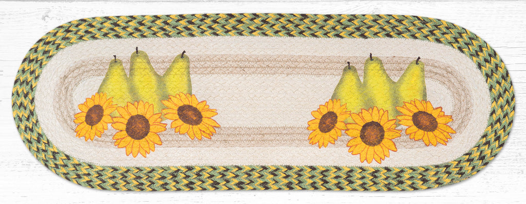 TR-9-120 Pears & Sunflowers Oval Table Runner