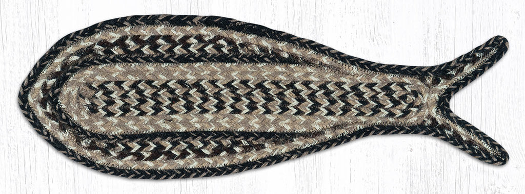 FC-9-93 Black/Tan Craft Spun Fish Rug