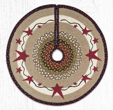 TSP-19 Primitive Stars Burgundy Printed Tree Skirt Round 30