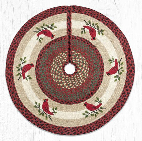 TSP-25 Holly Cardinal Printed Tree Skirt Round 30