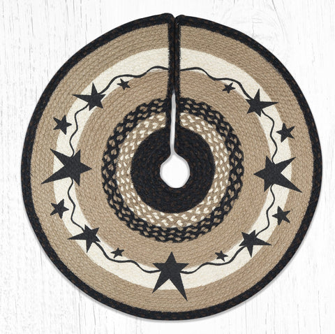 TSP-313 Primitive Stars Black Printed Tree Skirt Round 30