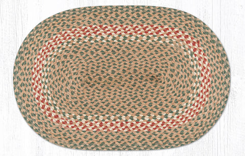 C-009 Green and Burgundy Braided Rug