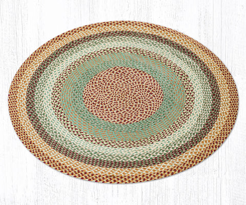 C-413 Buttermilk and Cranberry Braided Rug 4' Round