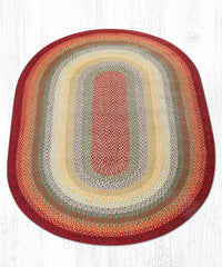 C-417 Thistle Green and Country Red Braided Rug