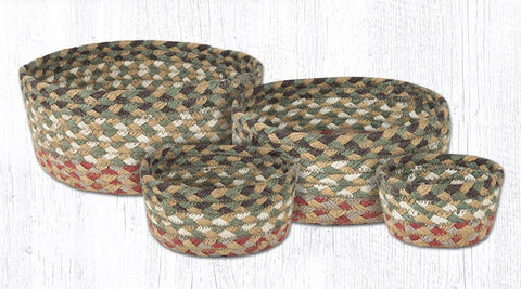 CB-024 Olive/Burgundy/Gray Braided Baskets