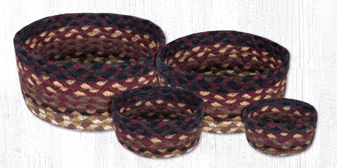 CB-371 Black Cherry/Chocolate/Cream Braided Baskets
