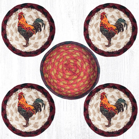 CNB-571 Rustic Rooster Coasters In A Basket