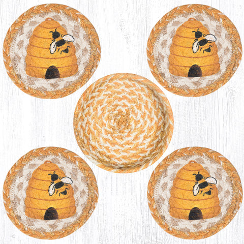 CNB-9-101 Bee Hive Coasters In A Basket