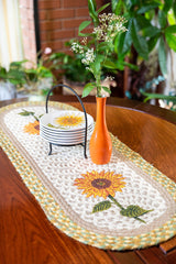 Sunflower Table Runner with tan, white, yellow and green colors.