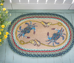 OP-359 Blue Crab Oval Rug