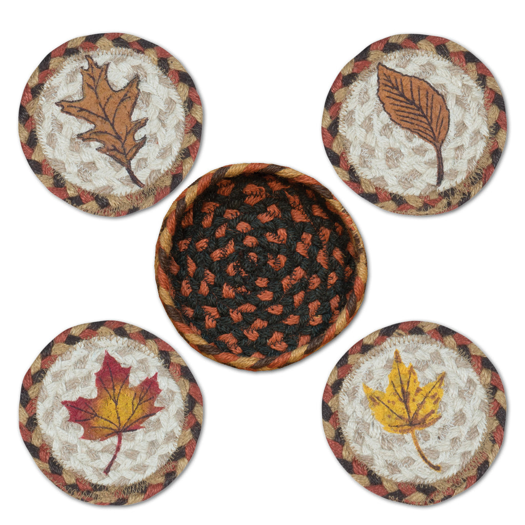 CNB-222 Fall Harvest Leaf Coasters In A Basket