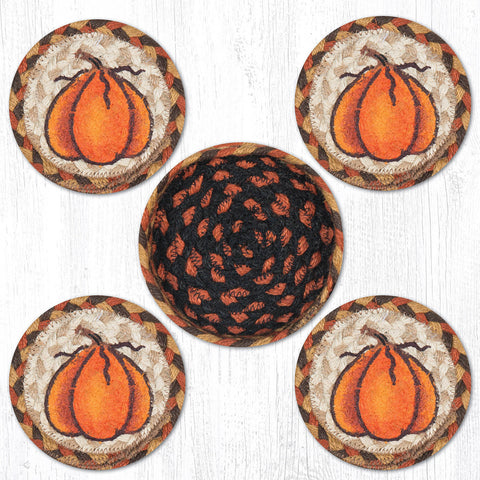 CNB-222 Harvest Pumpkin Coasters In A Basket
