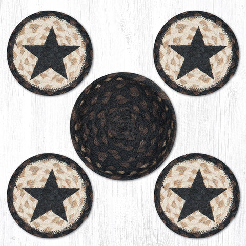 CNB-313 Black Star Coasters In A Basket