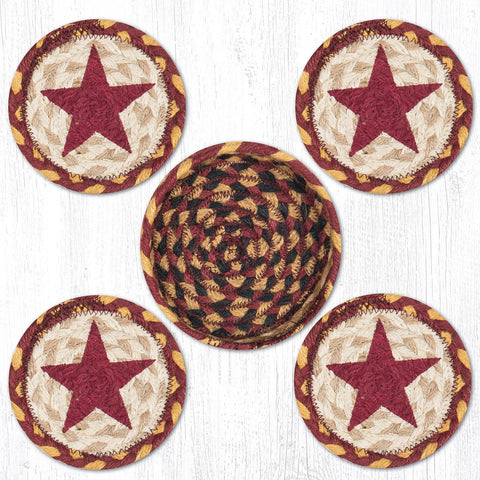CNB-357 Burgundy Star Coasters In A Basket