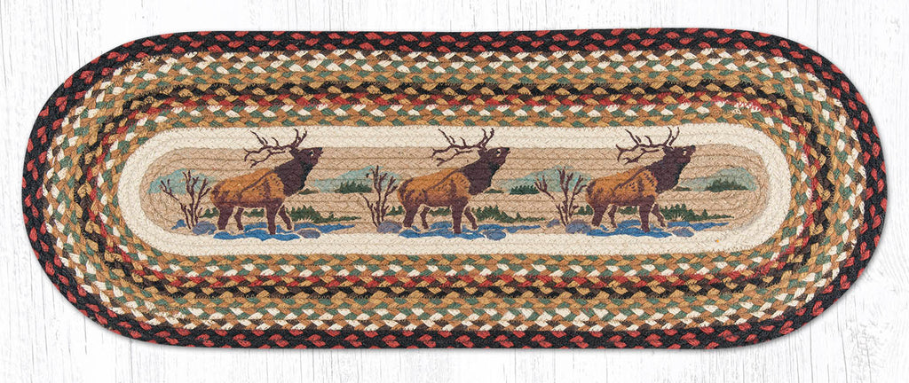 TR-319 Winter Elk Oval Table Runner
