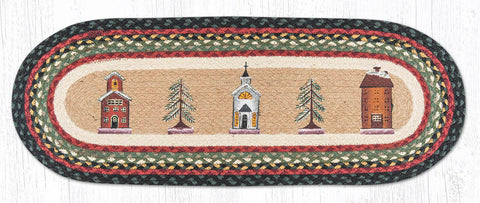 TR-338 Winter Village Oval Table Runner