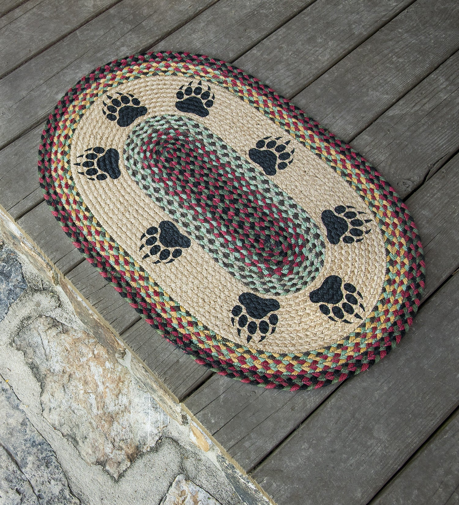 OP-081 Bear Paw Oval Rug | The Braided Rug Place