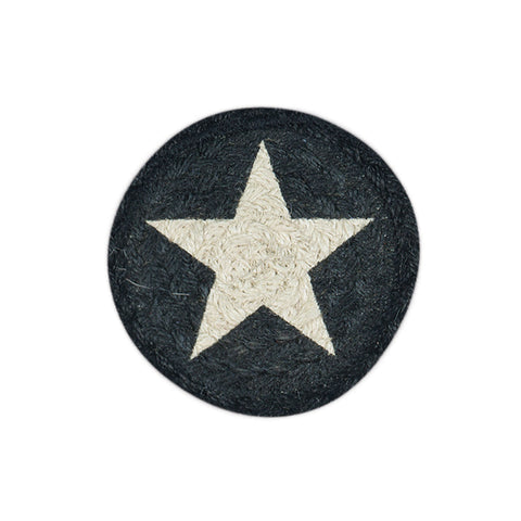 IC-551 White Star On Black Individual Coaster