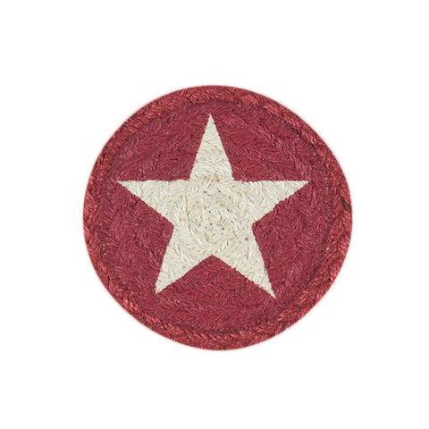 IC-555 White Star On Burgundy Individual Coaster