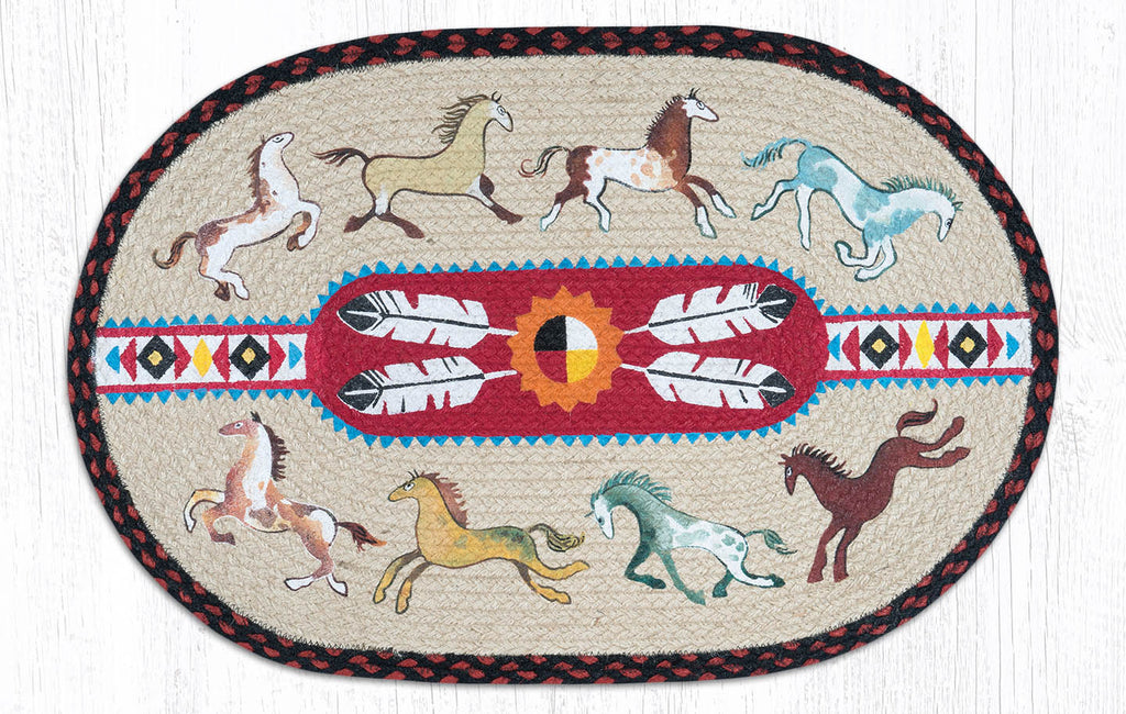 OP-019 Native Horses Oval Rug