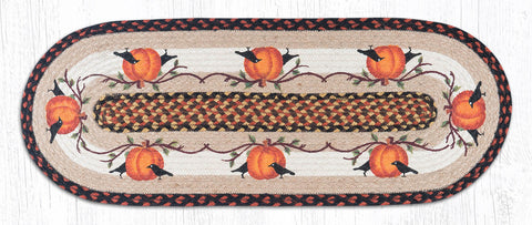 TR-222 Pumpkin Crow Oval Table Runner