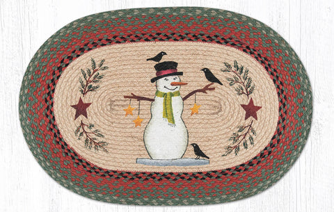 OP-025 Snowman with Crow Oval Rug