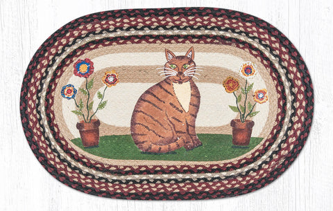 OP-344 Folk Art Cat Oval Rug