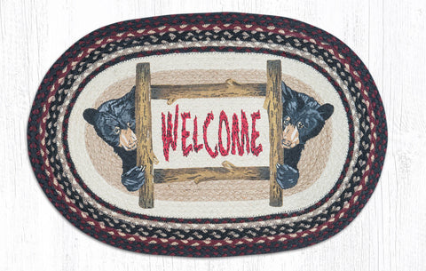 OP-344 Bear Welcome Oval Rug