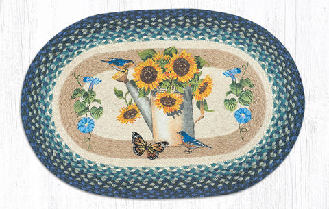 OP-568 Sunflower Water Can Oval Rug