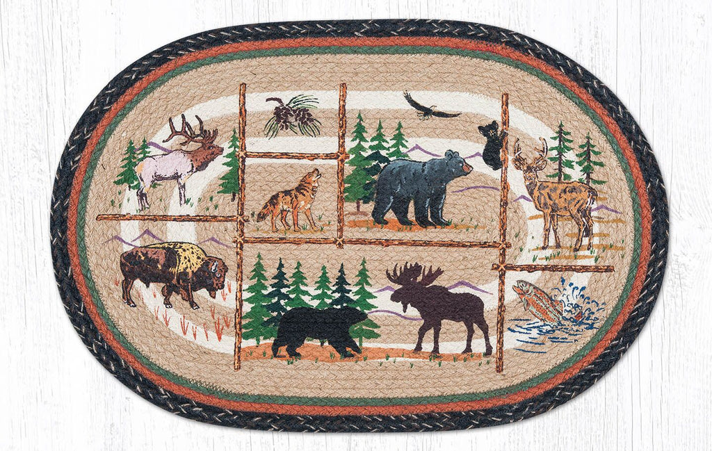OP-583 Lodge Animlas Oval Rug