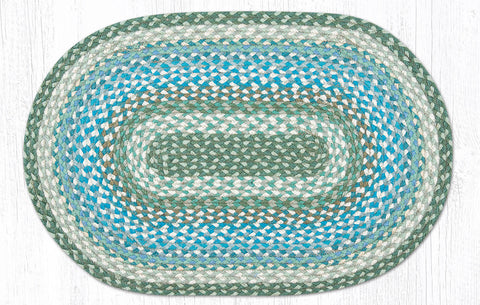 C-419 Sage, Ivory and Settlers Blue Braided Rug