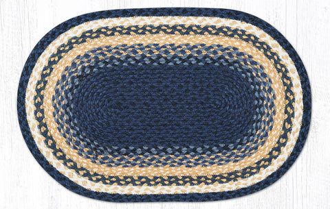 C-079 Light Blue, Dark Blue and Mustard Braided Rug Oval / 20
