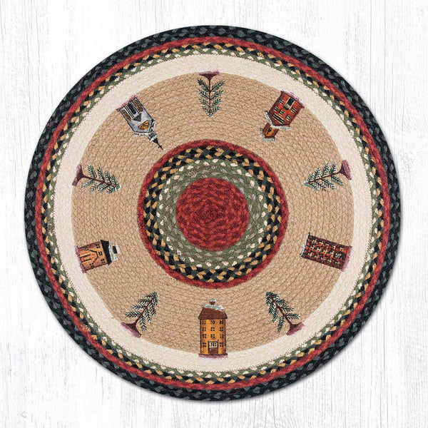 Rp 338 Winter Village Round Rug The Braided Rug Place