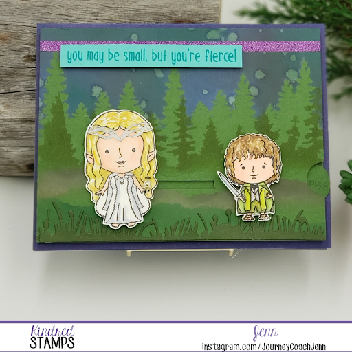 Kindred Stamp - Forest Elves and Size Doesn't Matter with Forest Stencil Background