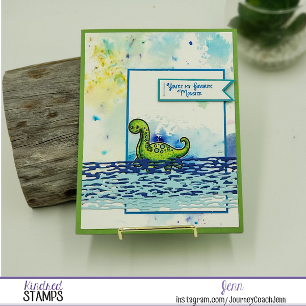 Kindred Stamps - You Are my Favorite Monster, learning to color Nessie