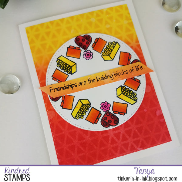Building Blocks with Spaceship Paneling and Wreath Stamping